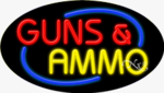 Guns & Ammo Oval Neon Sign