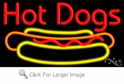 Hot Dogs Logo Neon Sign