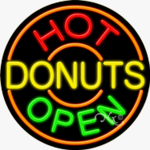 Hot Donuts Circle Shape Neon Sign