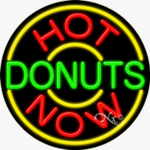 Hot Donuts Now Circle Shape Neon Sign