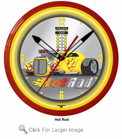"Hot Rod 20"" Neon Clock"