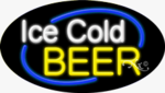 Ice Cold Beer Oval Neon Sign