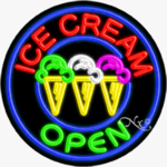 Ice Cream Circle Shape Neon Sign