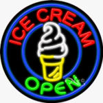 Ice Cream2 Circle Shape Neon Sign