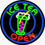 Ice Tea Circle Shape Neon Sign