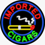 Imported Cigars Circle Shape Neon Sign