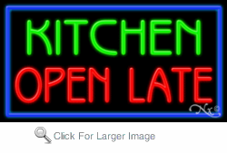 Kitchen Open Late Business Neon Sign