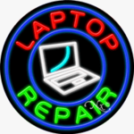 Laptop Repair Circle Shape Neon Sign