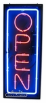 Large Vertical Neon Open Sign