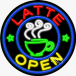 Latte Circle Shape Neon Sign