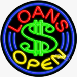 Loans Circle Shape Neon Sign