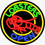 Lobsters Circle Shape Neon Sign