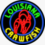 Louisiana Crawfish Circle Shape Neon Sign