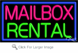 Mailbox Rental Business Neon Sign