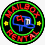 Mailbox Rental Circle Shape Neon Sign