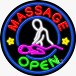 Massage Open Circle Shape Neon Sign