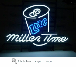 Miller Time Can Neon Sign