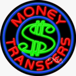 Money Transfers Circle Shape Neon Sign