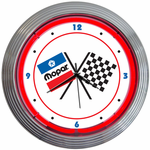 MOPAR CHECKERED FLAG NEON CLOCK