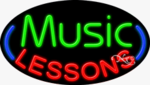 Music Lessons Oval Neon Sign
