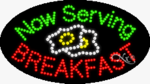 Now Serving Breakfast LED Sign