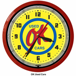 "OK Used Cars 20"" Neon Clock"