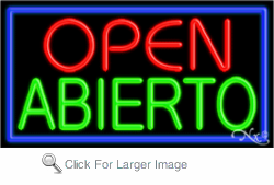 Open Abierto Business Neon Sign