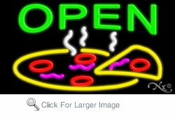 Open Neon Sign with Pizza