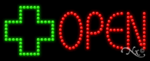 Open with Cross Logo LED Sign