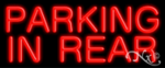 Parking In Rear Economic Neon Sign