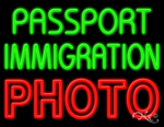 Passport Immigration Photo Business Neon Sign