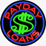 Payday Loans Circle Shape Neon Sign