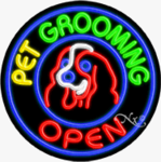 Pet Grooming Circle Shape Neon Sign