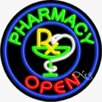 Pharmacy Circle Shape Neon Sign