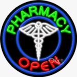 Pharmacy3 Circle Shape Neon Sign