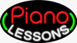 Piano Lessons Oval Neon Sign