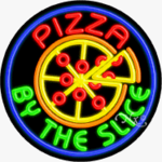 Pizza by the Slice Circle Shape Neon Sign