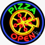 Pizza Circle Shape Neon Sign