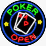 Poker Open Circle Shape Neon Sign