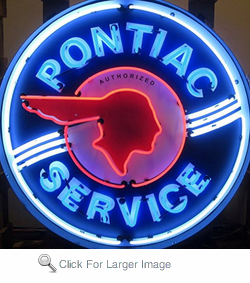 Pontiac Service Neon Sign in Metal can