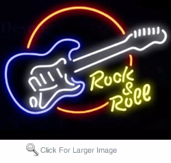 Rock & Roll On Circle Neon Sign