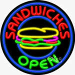 Sandwiches 2 Circle Shape Neon Sign