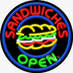 Sandwiches Circle Shape Neon Sign