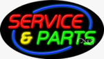 Service & Parts Oval Neon Sign