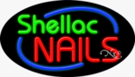 Shellac Nails Oval Neon Sign