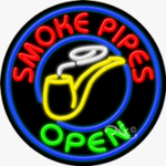 Smoke Pipes Circle Shape Neon Sign