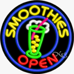 Smoothies Circle Shape Neon Sign