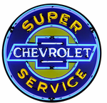 Super Chevrolet Service Neon Sign in Metal Can