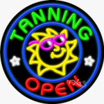 Tanning Open Circle Shape Neon Sign