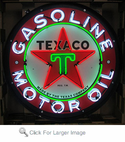 Texaco Motor Oil Neon Sign in Metal Can